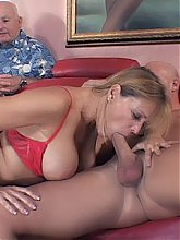 Blonde mature wife Nicole Moore shows us her shaven snatch and goes into action riding a cock