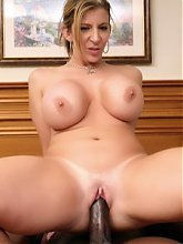 Pretty MILF Sara Jay uses her big boobs to work a cock then takes it in her cooter