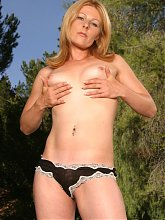 Isadora posing and stripping her clothes before she gets screwed by a younger guy