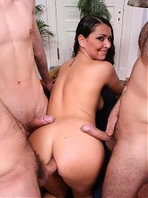 Mikaela joins three guys on the couch to have her tight holes defiled with dicks