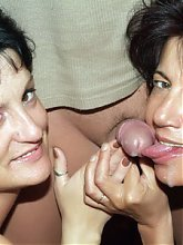 Experienced older babes Agnes and Marsha take turns in having their mature pussies fucked